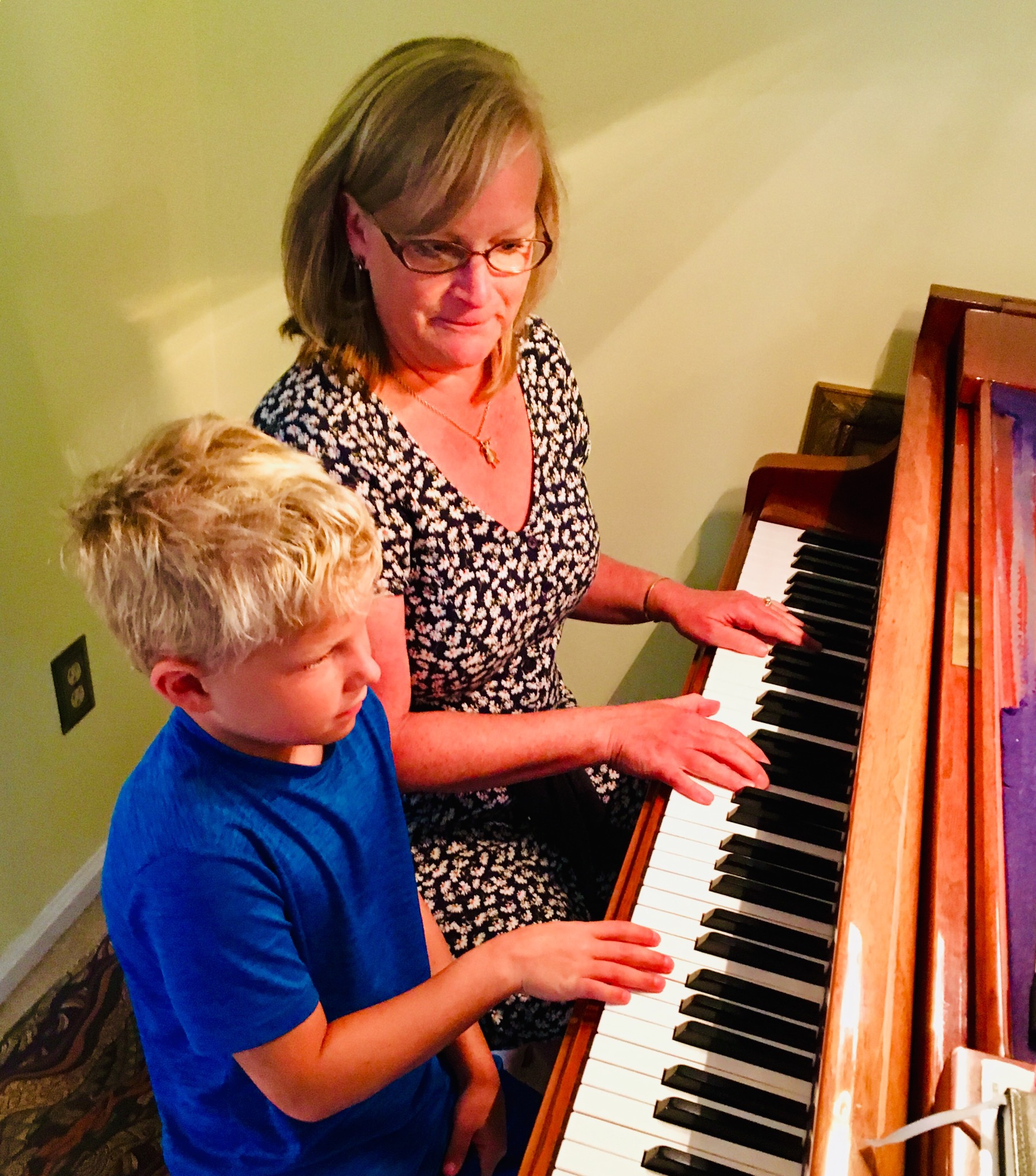 Jen and Noah at piano
